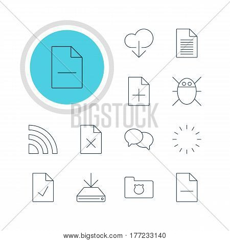 Vector Illustration Of 12 Network Icons. Editable Pack Of Computer Virus, Information Load, Note And Other Elements.