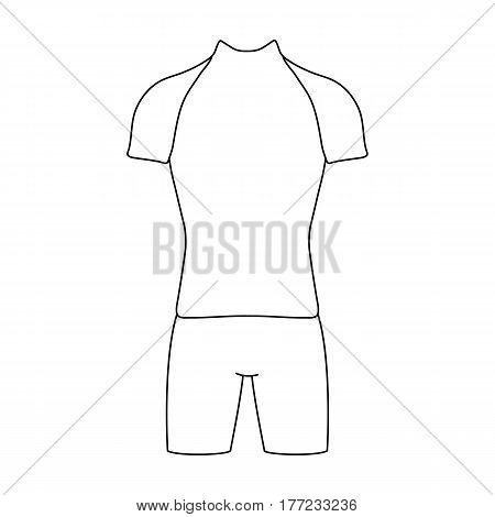 A cycling suit for riding a bicycle. Clothes cycling.Cyclist outfit single icon in outline style vector symbol stock web illustration.