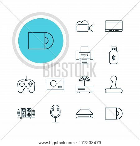 Vector Illustration Of 12 Accessory Icons. Editable Pack Of Monitor, Sound Recording, Memory Storage And Other Elements.
