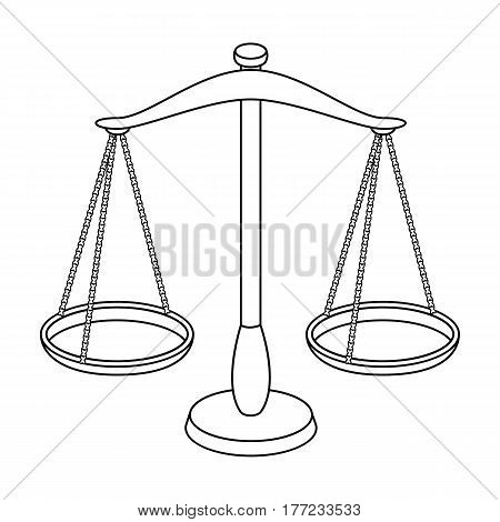 Scales for jewelry. Weights for measuring punishment.Prison single icon in outline style vector symbol stock web illustration.