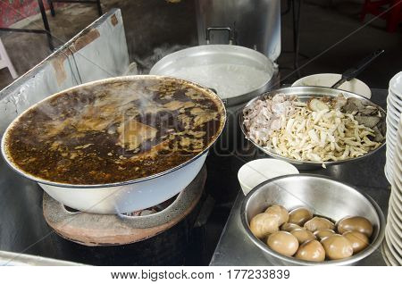 Thai People Cook Crunchy Pork Soup Or Paste Of Rice Flour And Boiled Chinese Pasta Square Or Chinese