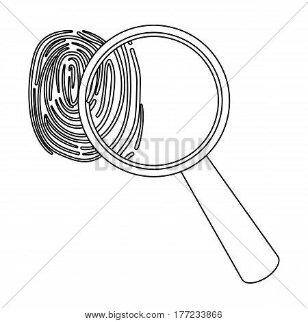 Magnifier and fingerprint. Detection of criminals by fingerprint.Prison single icon in outline style vector symbol stock web illustration.