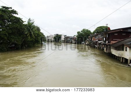 Water Fast And Severe In Chanthaburi River Because Flash Flood After Rainy At Old Town Chanthaboon A