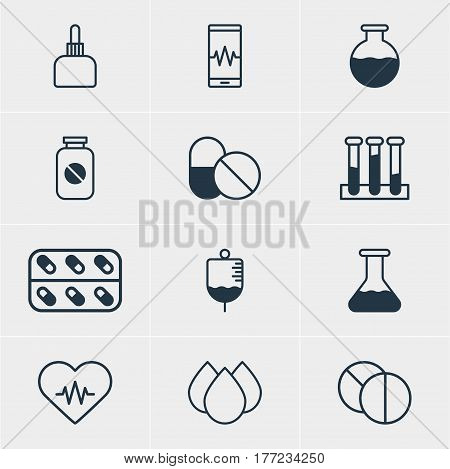 Vector Illustration Of 12 Medical Icons. Editable Pack Of Flask, Phone Monitor, Trickle And Other Elements.