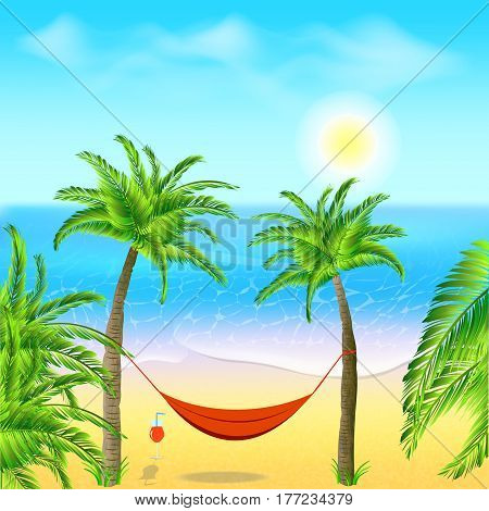 Hammock with palm trees on beach. Cocktail near the hammock. Tropical background with ocean. Vector illustration