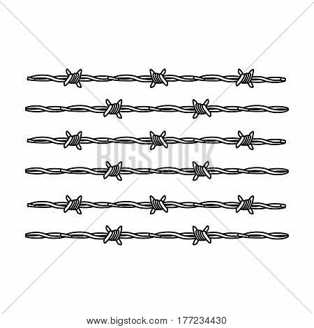 Barbed wire for detaining criminals in prison. A fence in prison.Prison single icon in outline style vector symbol stock web illustration.