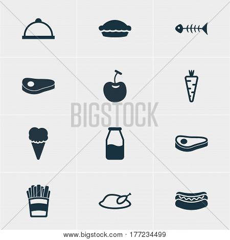 Vector Illustration Of 12 Eating Icons. Editable Pack Of Beefsteak, Potato, Platter And Other Elements.
