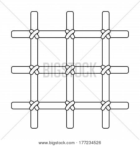 Lattice in the cell of the prisoner. A metal door to hold criminals.Prison single icon in outline style vector symbol stock web illustration.