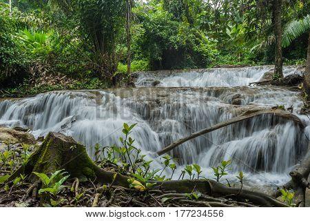 Kroeng Krawia Waterfalls in Khao Laem National Park of Kanchanaburi Thailand
