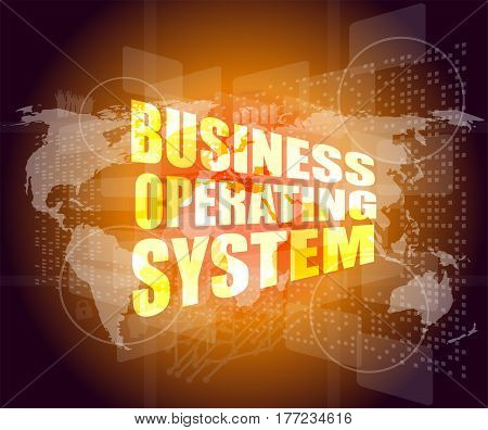 Business Operating System Word On Digital Touch Screen