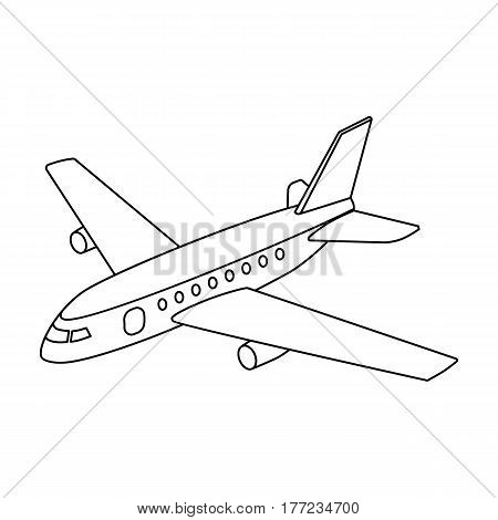 Aircraft for transportation of a large number of people. The safest air transport.Transport single icon in outline style vector symbol stock web illustration.
