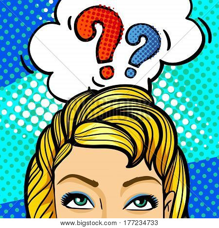 Surprised and shocked woman in pop art comics style with question word bubble. Question sing in comic style.