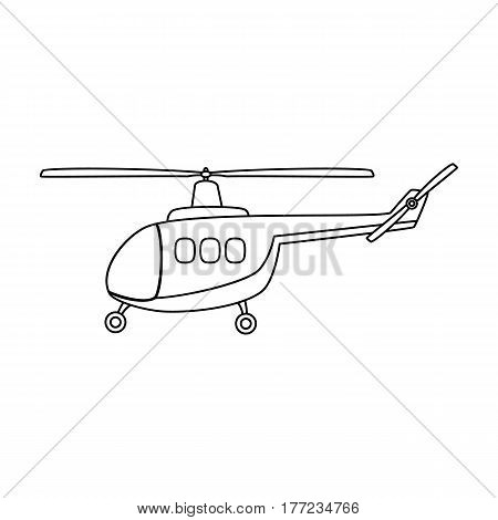 Air transport helicopter. Transport with blades.Transport single icon in outline style vector symbol stock web illustration.