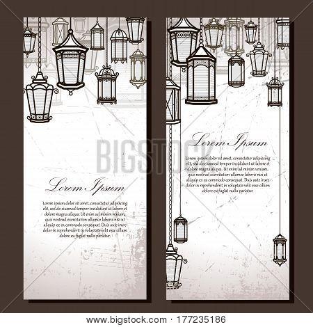 Vintage lantern vector banner background set. Retro antique backrop for business. Classic hanging light cover illustration. Elegant invitation postcard paper design. Traditional card. Victorian style