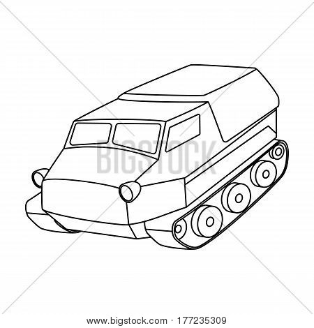 Tank for the marshes. Caterpillar transport of military.Transport single icon in outline style vector symbol stock web illustration.