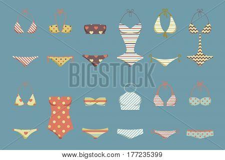 Vector illustration of women's classic swimsuit design set. Fashion vintage bikini collection. Female retro stylish swimwear silhouettes isolated. Flat beach clothing underwear