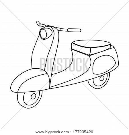 Blue two wheeled scooter. Transport for moving around the city.Transport single icon in outline style vector symbol stock web illustration.