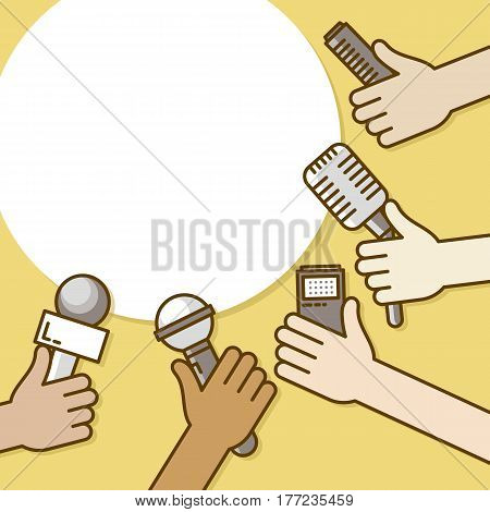 Few hands of journalists with microphones, tape recorder and smartphone. Journalism, live report or hot news, television and radio casts. Vector illustration line style with speech bubble