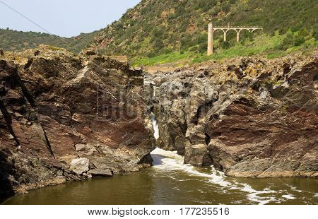 Pulo Do Lobo Waterfall Closeup At Guadiana River