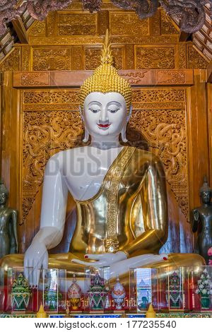 White Buddha Image in church for Buddhist to pay respect.