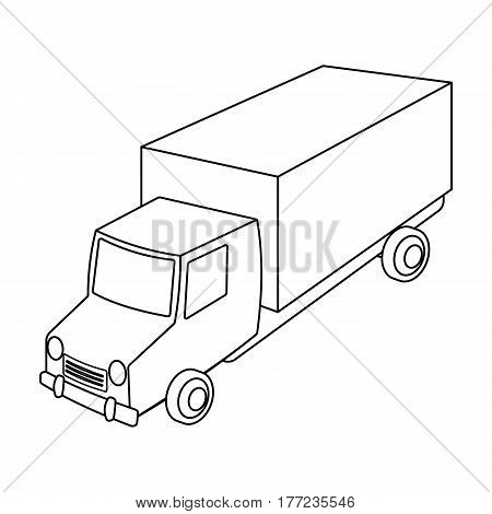 Red truck with a yellow body. The car for cargo transportation.Transport single icon in outline style vector symbol stock web illustration.