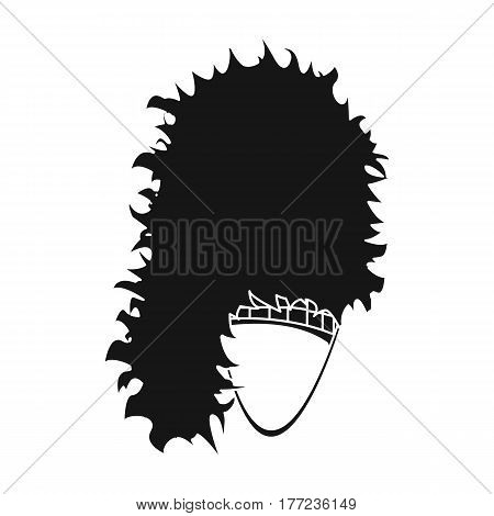 Mask with hair for the Scot.The Scottish national symbol.Scotland single icon in black style vector symbol stock web illustration.