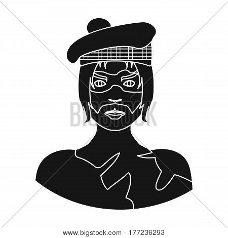 A Scotsman with long hair and a beard.A man in a Scottish headdress.Scotland single icon in black style vector symbol stock web illustration.