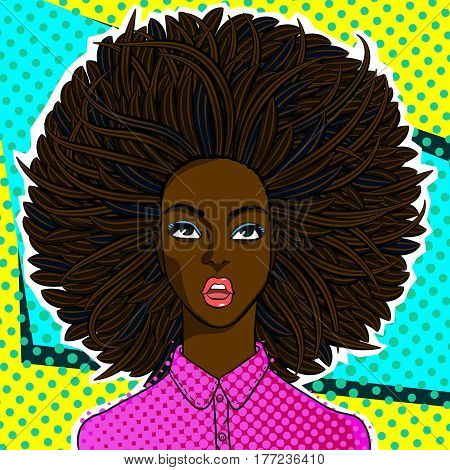 Confused or surprised african american woman face in pop art comics style.