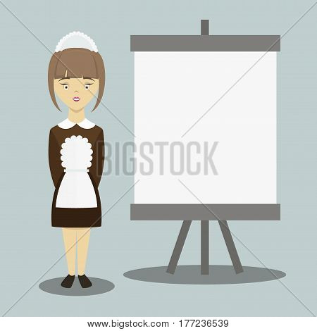 Young beautiful maid. Cleaning service. Vector illustration EPS 10