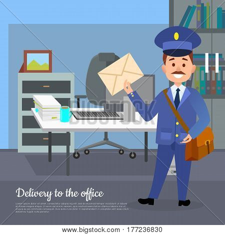 Delivery to the office web banner. World transfer to addressee. Mailman in suit holding envelope stands near working place in the office. Hand to hand delivery concept. Vector poster in cartoon style