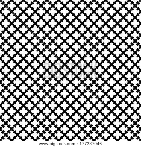 Vector seamless pattern. Simple black & white geometric texture. Endless ornamental background, retro gothic style. Symmetric square abstract backdrop. Repeat tiles. Design for prints, decor, textile, fabric, cloth