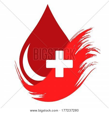 Donor concept. Flat blood drop isolated icon