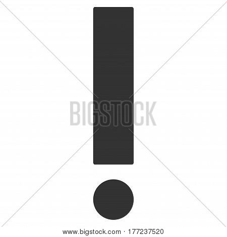 Exclamation Sign vector icon. Flat gray symbol. Pictogram is isolated on a white background. Designed for web and software interfaces.
