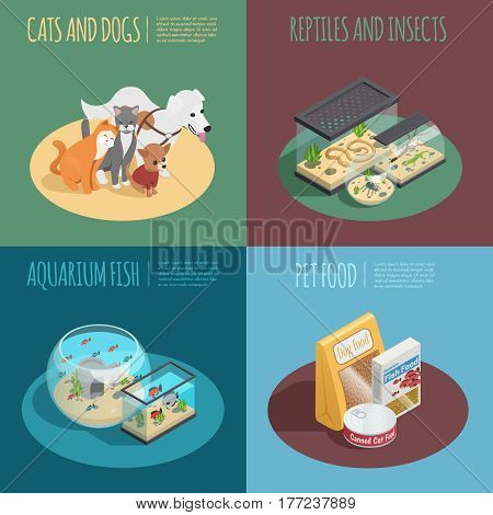 Pet shop concept isometric icons set with pet food symbols isolated vector illustration