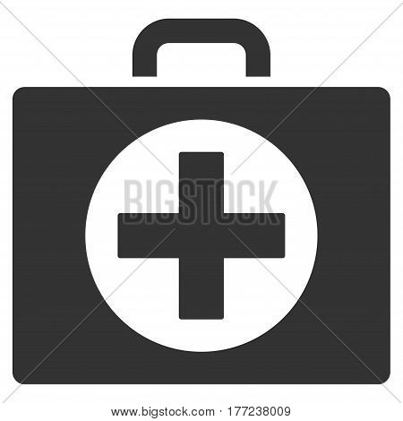 First Aid vector icon. Flat gray symbol. Pictogram is isolated on a white background. Designed for web and software interfaces.
