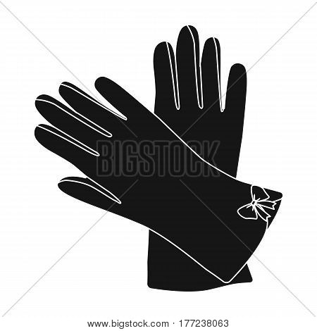 Warm burgundy gloves for hands. Female winter accessory.  Woman clothes single icon in black style vector symbol stock web illustration.