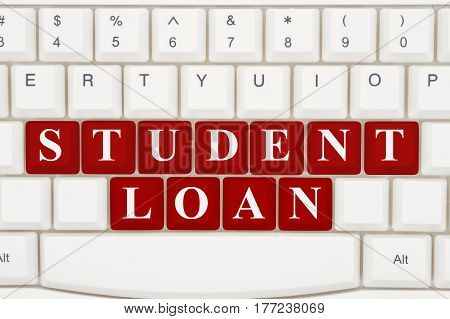 Applying for student loans online A close-up of a keyboard with red highlighted text Student Loan 3D Illustration