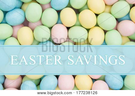 An ad for an Easter sale Retro Easter eggs candy with text Easter Savings