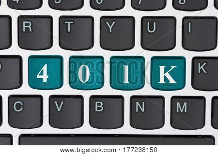 Managing your retirement account online A close-up of a keyboard with teal highlighted text 401k 3D Illustration