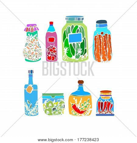 vector illustration food vegetable healthy jar green