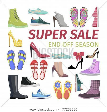 Super Sale. End off Season. Sale advertisement signboard with different stiletto shoes. Modern leather boots, flip-flops, sleepers, high heels, vector illustration of women shoes. Cartoon style design