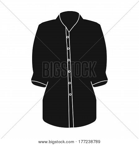 Stylish orange shirt for women. Women dressed in ceremonial clothes.  Woman clothes single icon in black style vector symbol stock web illustration.