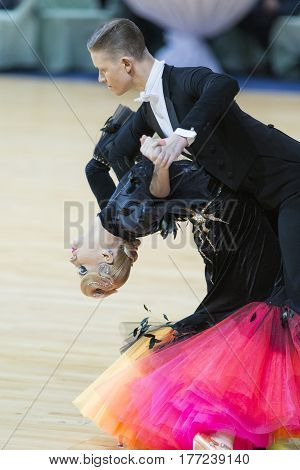 Minsk Belarus- February 18 2017: Unidentified Dance Couple Perform Adult Standard European Program on WDSF Minsk Open Dance Festival-2017 Championship in February 18 2017 in Minsk Belarus.