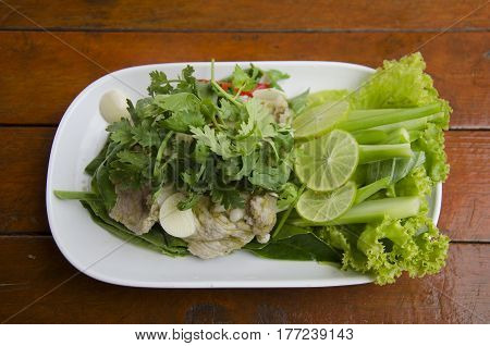 Boiled Pork With Lime Garlic And Chili And Lemon Spicy Sweet Sauce Thai Called Moo Ma Nao
