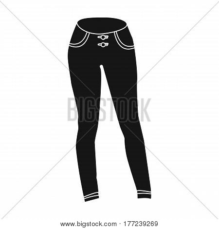 Blue women s jeans. Casual jeans comfortable clothing for women. Woman clothes single icon in black style vector symbol stock web illustration.