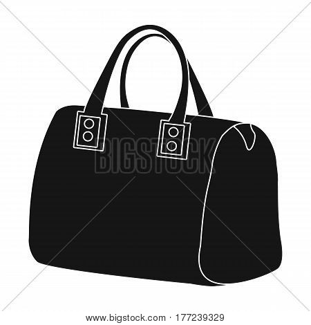 Red lady s bag with handles. Ladies accessory items. Woman clothes single icon in black style vector symbol stock web illustration.
