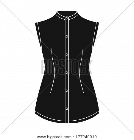 Beige button-down shirt without sleeves for the girl. Casual dress style.Women clothing single icon in black style vector symbol stock web illustration.