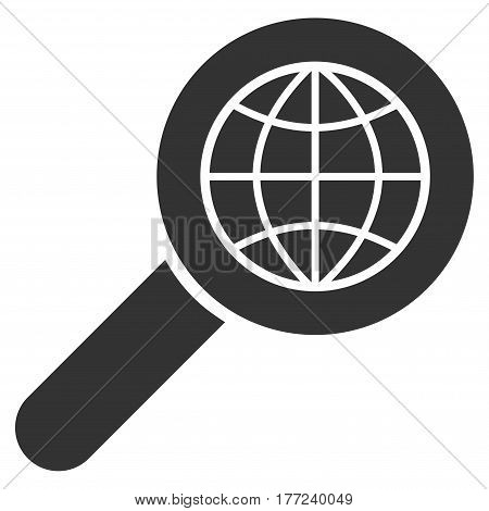 Search Globe Place vector icon. Flat gray symbol. Pictogram is isolated on a white background. Designed for web and software interfaces.