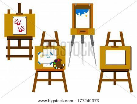 easel vector canvas artist art board wood
