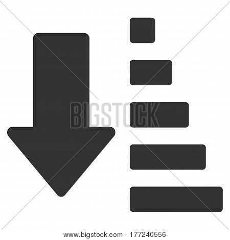 Sort Down Arrow vector icon. Flat gray symbol. Pictogram is isolated on a white background. Designed for web and software interfaces.